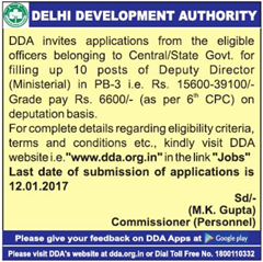 DDA Advertisement 2016 www.indgovtjobs.in