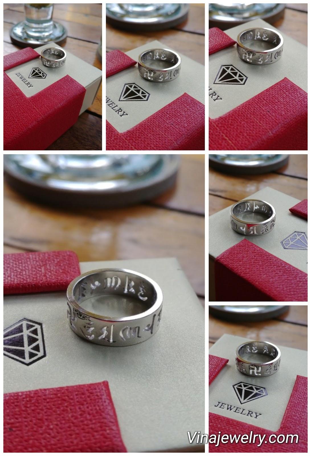 Nhẫn Om mani padme hum, bạc 925