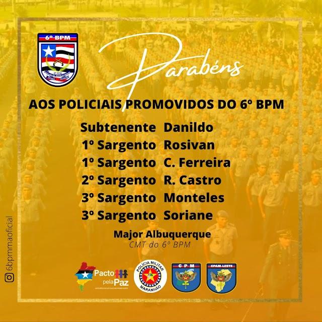 Comandantes do CPAM Leste e do 6ºBPM participam de homenagem a policiais promovidos