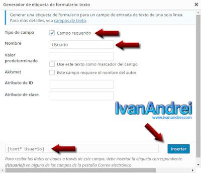 Generador de etiquetas de formulario - Contact Form 7