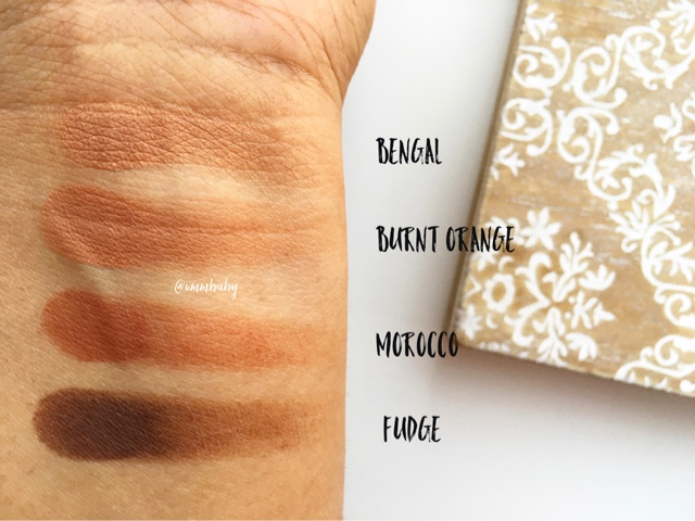 abh eyeshadow swatches, nc40 swatches anastasia beverly hills bengal vs burnt orange matte vs morocco vs fudge, abh eyeshadow quad