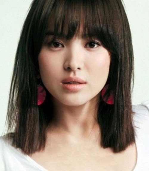 Asian Bangs Hairstyle Shoulder Length Bob Cut With Korean 1000 Ideas
