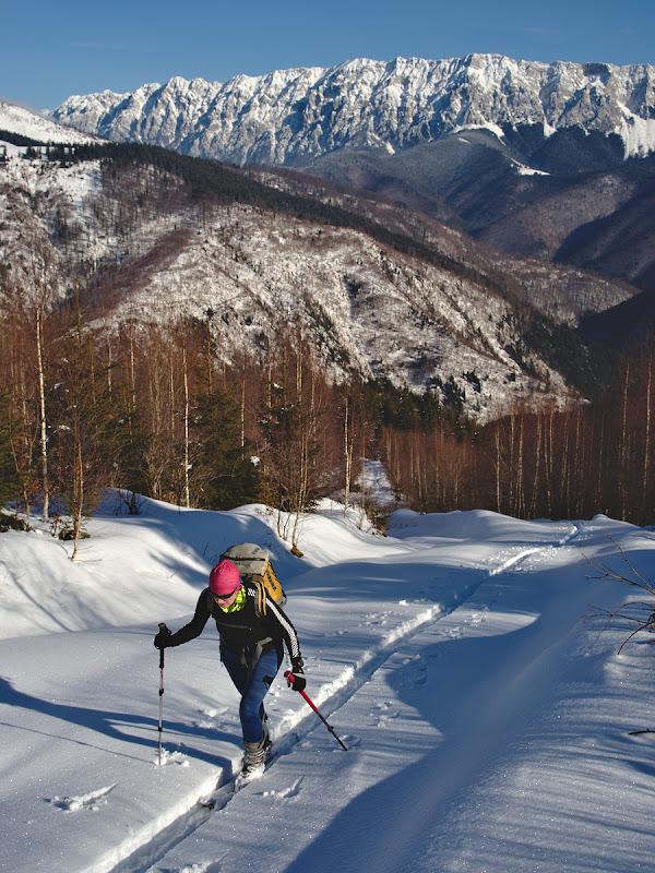Atuni cand zapada devine mai mare in schimb, cu tot cu sabotii si cu 3 kilograme de zapada pe picior totusi schiurile sunt intr-un usor avantaj.