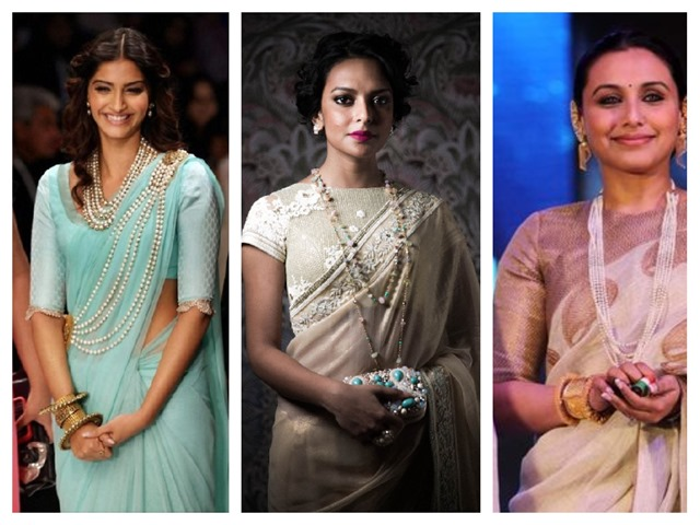 how to style pearls with sarees
