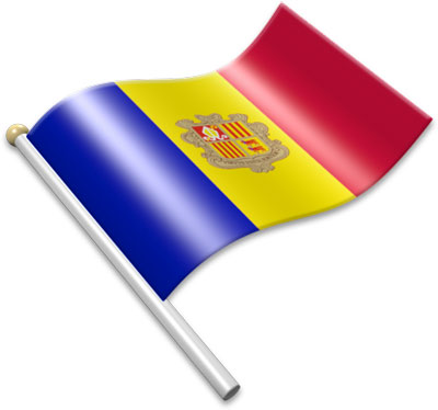 The Andorran flag on a flagpole clipart image