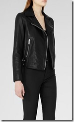 Reiss black leather biker jacket