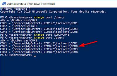 Redirection des ports COM de l'hôte vers le cloud