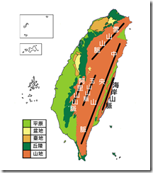 臺灣地形分布圖_彩_山脈
