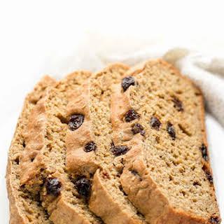 Healthy Oatmeal Raisin Breakfast Quick Bread.
