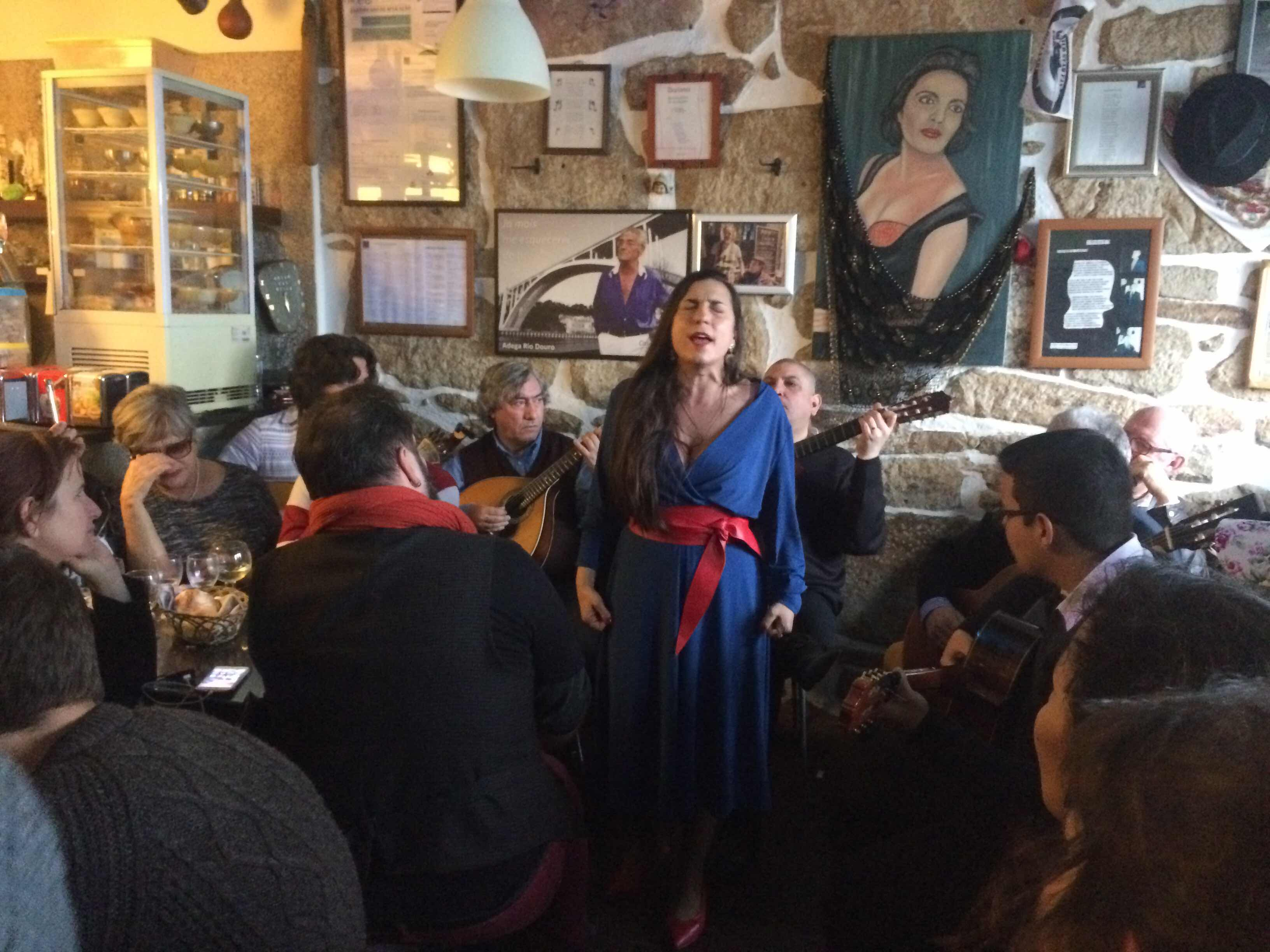 Fado in a local bar in Porto. The singers name was Patricia and she was one of 5 talented singers who accompanied the wonderful musicians.