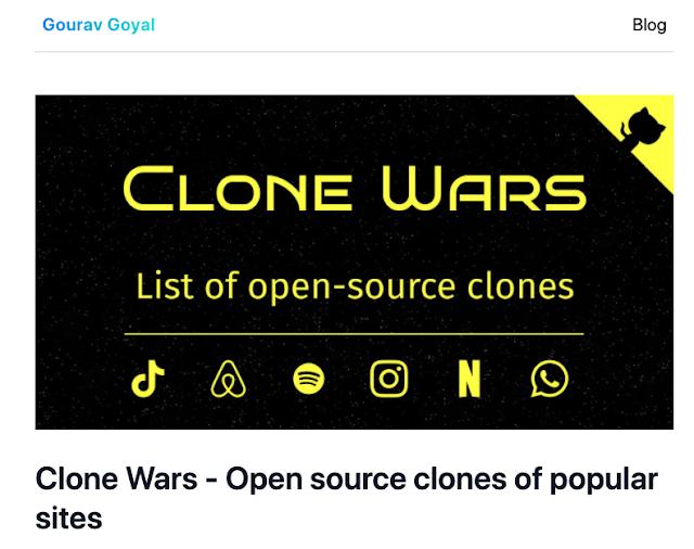 Clones de código aberto a alternativas de sites populares como Airbnb, Amazon, Instagram, Netflix, Tiktok, Spotify, Whatsapp, Youtube, etc