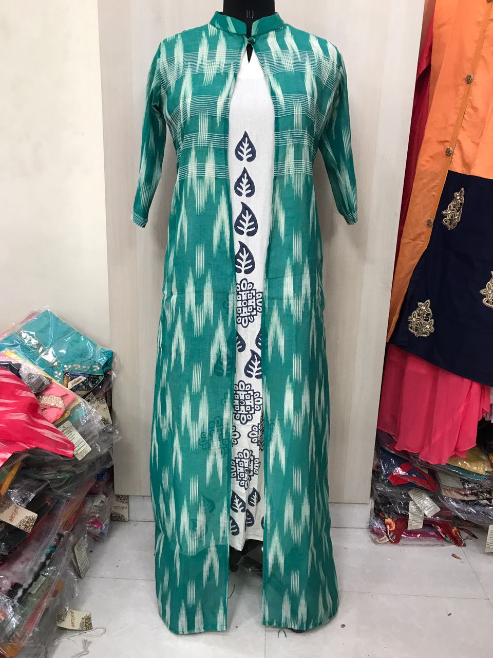 Amd Chanderi Ikkat Design Kurti With Jacket Rs Koyal Fashions