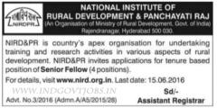 NIRD Senior Fellow Jobs 2020