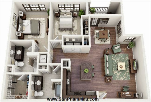 Phương án thiết kế mặt bằng có 2 phòng ngủ đẹp - Tủ âm tường-3