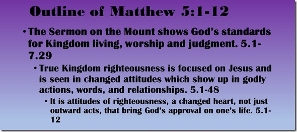 Outline of Matthew 5.1-12