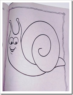 Snail coloring book page, used for drawing mazes.