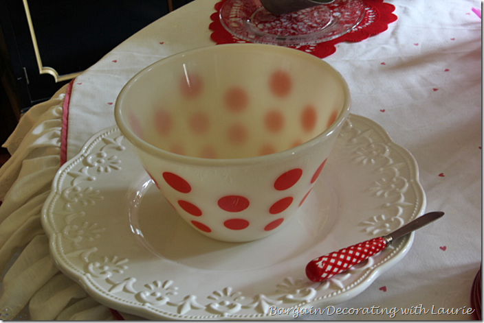 Vintage Polka Dot Bowl for Valentine Table