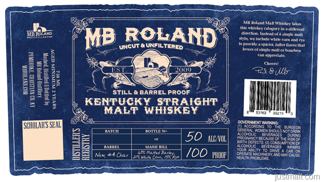 MB Roland Kentucky Straight Malt Whiskey