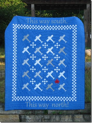 North and south labelled on quilt