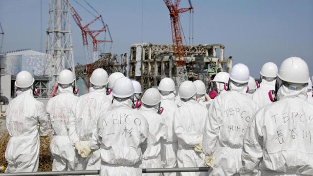 Workers look at the damaged Fukushima Daiichi nuclear power plant. Photo: Reuters