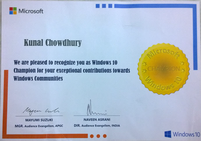 Microsoft Windows 10 Champion - Kunal Chowdhury (www.kunal-chowdhury.com)