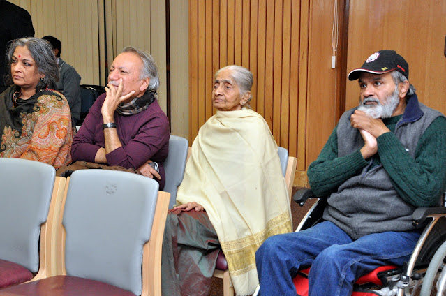 Nitya Ramakrishan (extreme left), Aunty and Niranjan (right) at the Delhi launch of Sikh Heritage: Ethos and Relics