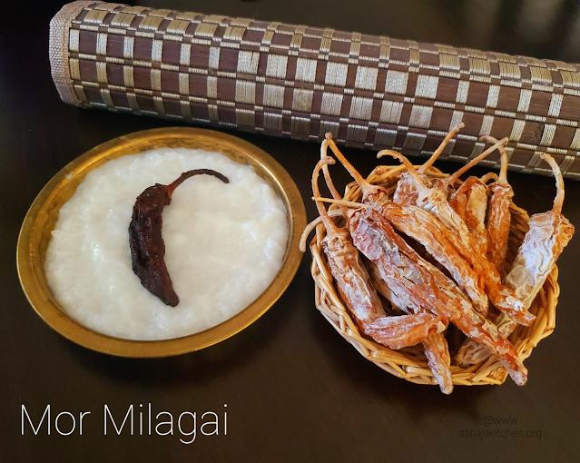 images of Mor Milagai Recipe / Sun Dried Chillies / South Indian Sun Dried Chillies Recipe - Summer Recipes