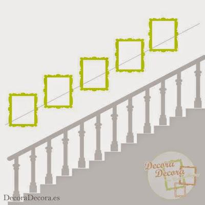Colgar cuadros en una escalera.