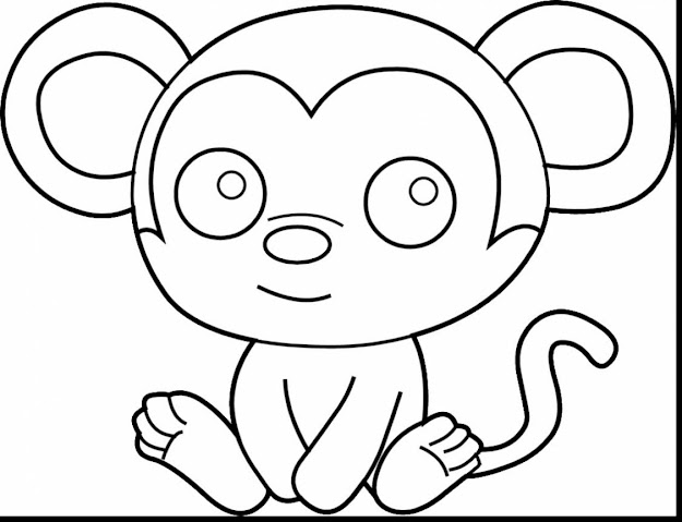Awesome Cute Monkey Coloring Pages With Baby Animals Coloring Pages And Baby  Animals Coloring Pages
