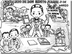 Dibujo para colorear de Benito Juarez | Dibujo de Benito Juarez para niños