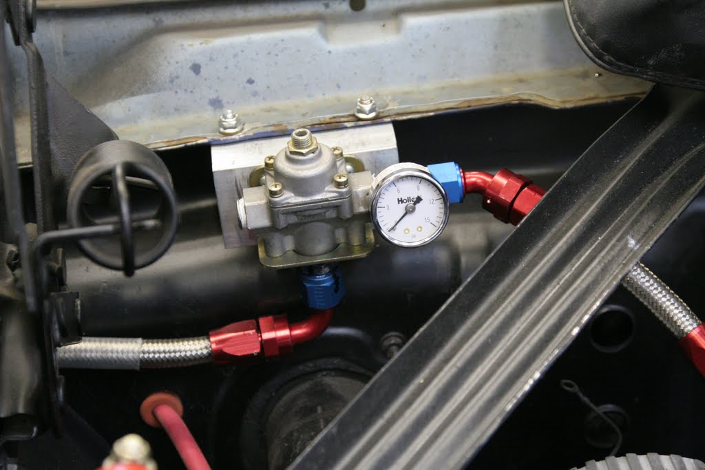 Fuel pressure regulator installed and connected