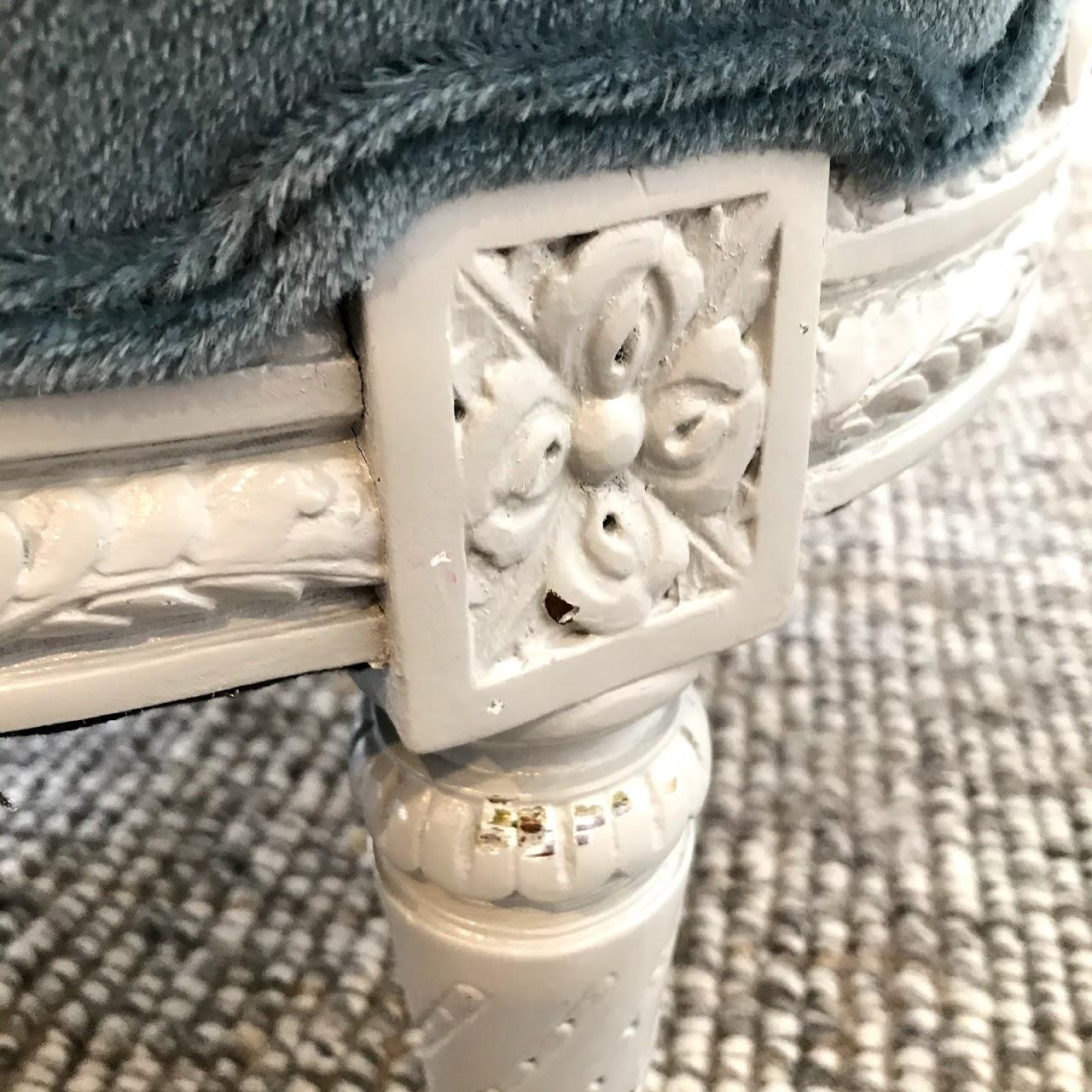 Louis XVI Style Mohair Oval-Back Armchair #2
