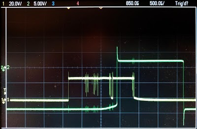 The lower trace shows the input with contact bounce as it turns on. In the output from the tube module, contact bounce has been eliminated.