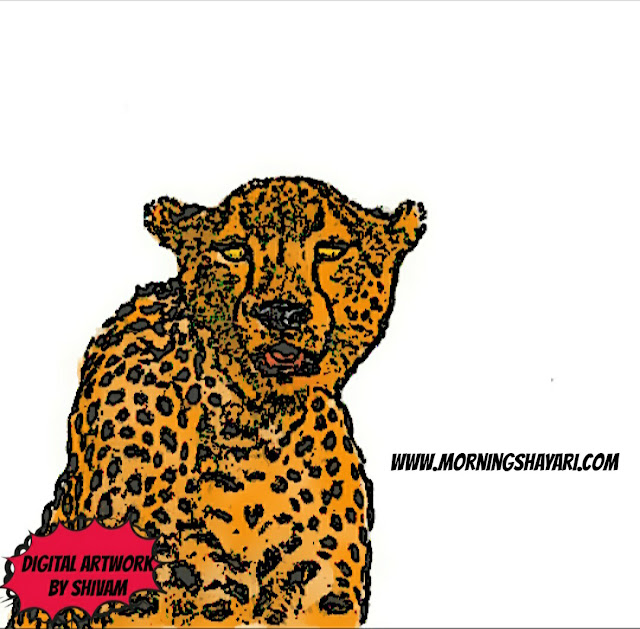 Leopard, Nature Photography, Nature Sketches, Cheetah, Animal, Wildlife, Forest, sketch, Drawing, Digital art, oil pastel