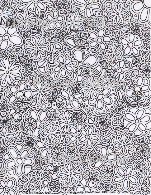 Items Similar To Flowers Abstract Adult Printable Coloring Page On Etsy
