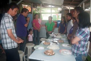 Sir Jojo leads prayer for food at Marvin Felomina's Residence in San Jose Del Monte, Bulacan