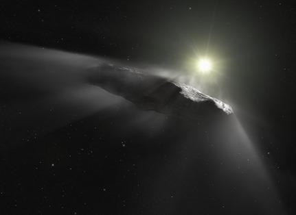 ilustração do objeto interestelar 'Oumuamua