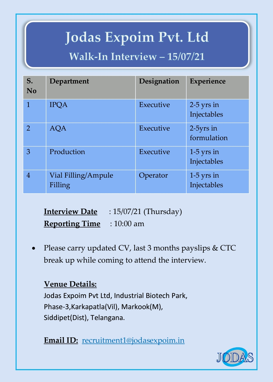 Walk-in For Production, IPQA, QA, Vial Filling In Injectables At Jodas Expoim
