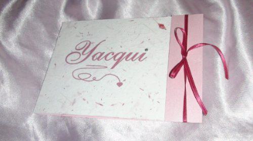 Invitación rosa papel reciclado de quinceañera