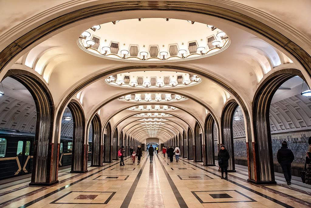 俄羅斯 莫斯科 地鐵站 Moscow metro Mayakovskaya 世界最美地鐵站