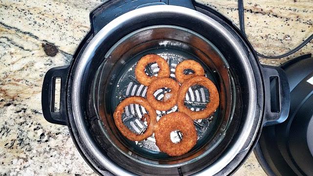 Crispy Frozen Onion Rings in Instant Pot Air Fryer Lid