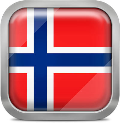 Norway square flag with metallic frame