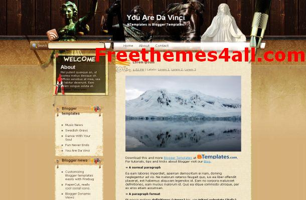 Free Blogger Vintage Arts Theme Template