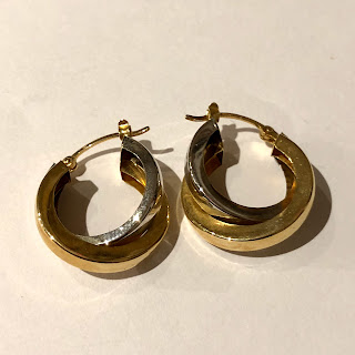 14K White &Yellow Gold Hoop Earrings