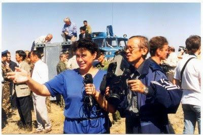 Гид в Израиле, а в прошлом телевизионный журналист - Светлана Фиалкова. Репортаж с места посадки космонавтов в Казахстанской степи.