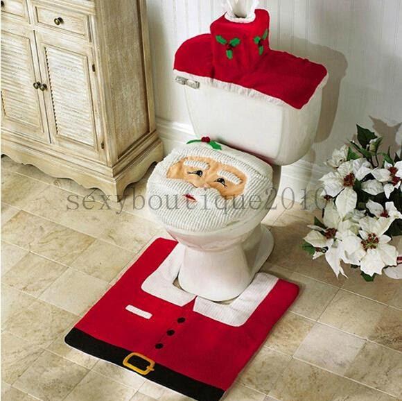 3 Pcs Santa Claus Toilet Seat Cover Mat Water Tank