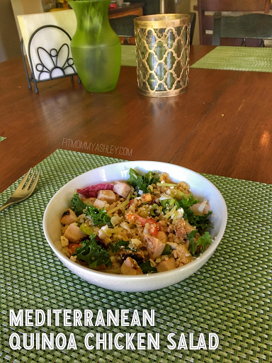 Mediterranean, quinoa, salad, chicken, peppers, feta, BBQ, healthy, side dish, clean
