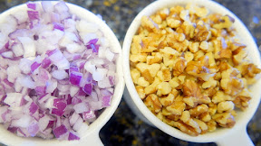 1 cup walnuts, 3/4 cup diced red onion