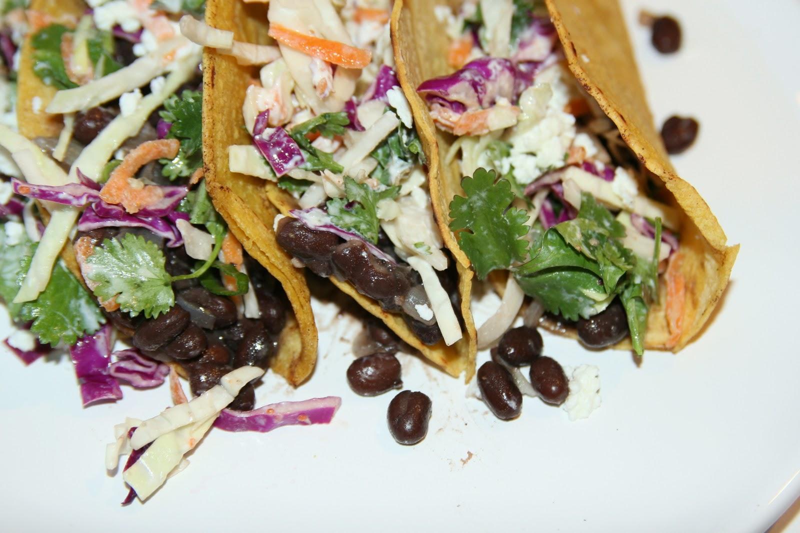 ... & Champagne: Crispy Black Bean Tacos with Feta & Cabbage Slaw