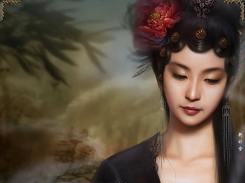 Red Flower In Hairs Fantasy Girl, Magic Samurai Beauties